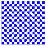 illusion of volume in blue and white squares