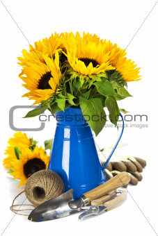Sunflowers and garden tools