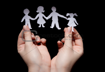 Paper chain family in hands