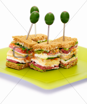 Snacks of Classical BLT Club Sandwich