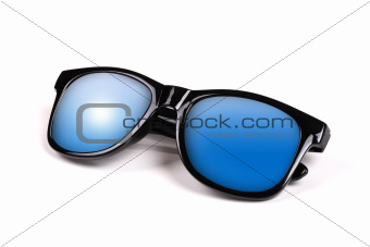 black sunglasses with blue sky reflection