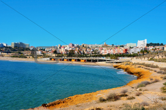 Miracle Beach and panoramic view of Tarragona, Spain