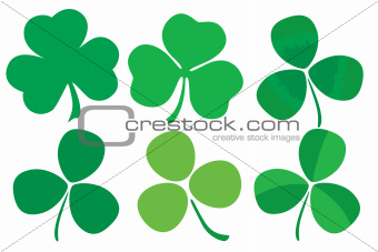 Set of six stylized clovers