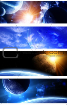 Collection of space banners