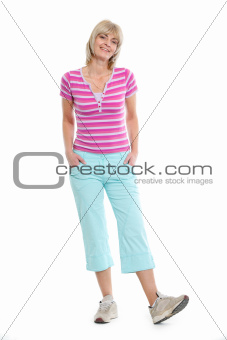 Full length portrait of senior woman in clothes for sport