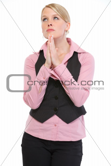 Portrait of woman praying