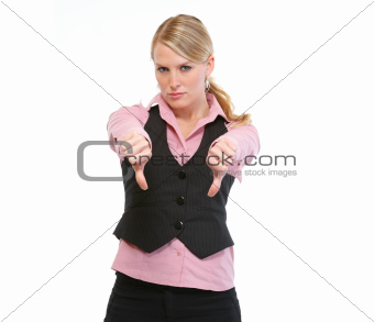 Woman employee showing thumbs down