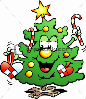 Hand-drawn Vector illustration of an Happy Christmas Tree 