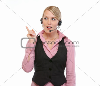 Woman employee with headset got idea