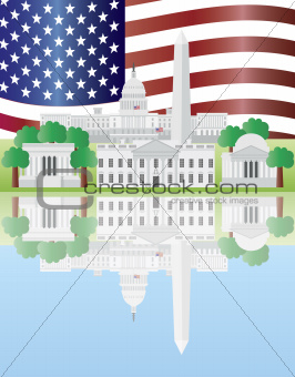 Washington DC Landmarks Reflection with US Flag