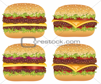 vector set of hamburgers and cheeseburgers