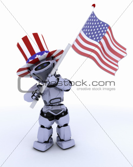 robot with american flag