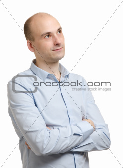 Portrait of pensive man looking up