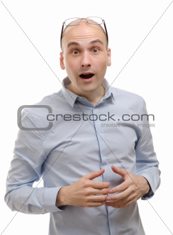 Young man with a shocked facial expression