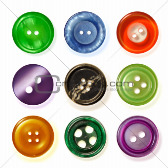 Nine sewing buttons.