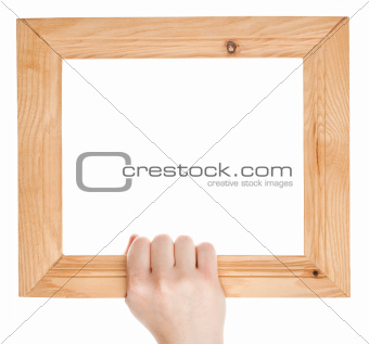 Wooden frame in hand