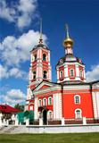 church in Russia red against the blue sky