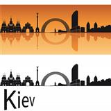 Kiev skyline in orange background