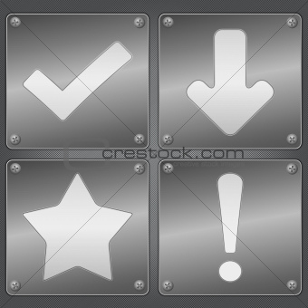 Metal plates with icons
