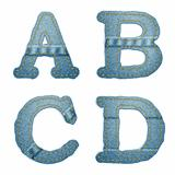 Vector Realistic Denim abc. Jeans characters with seams and rivets on white