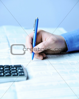 Businessman analyzing stock market data