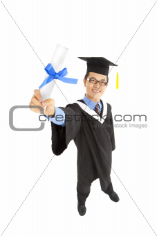 graduating  asian student holding diploma certificate
