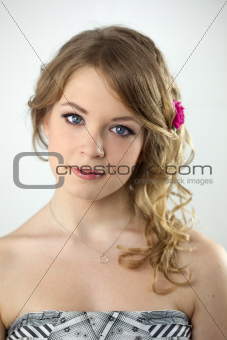 Studio Portrait of Young Teenager Girl / with hairstyle and light make-up