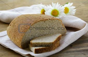 rye black bread on a wooden board