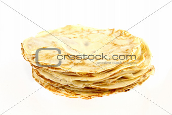 A stack of pancakes on a white background