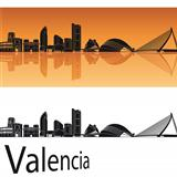 Valencia skyline in orange background