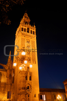 La Giralda tower by night