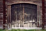 Ancient black wooden door
