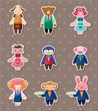 cartoon animal waiter and waitress stickers
