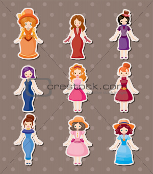 retro lady stickers