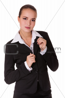 Business woman in black suit