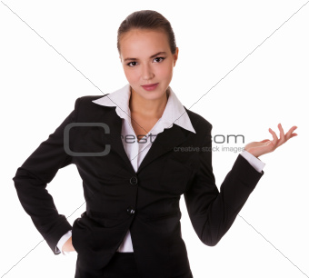 Business woman with demonstration gesture