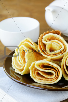 dessert waffles on brown plate