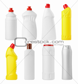 Set of various detergent bottles