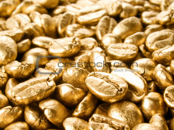 Coffee gold closeup background.