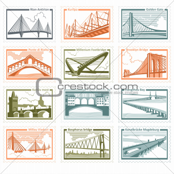 The collection of stamps with the image of bridges