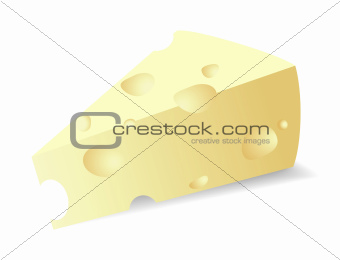 Vector illustration of a piece of cheese. Isolated on white background.