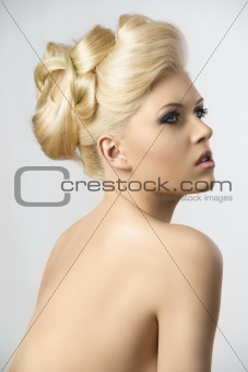 blonde hair style, the girl looks up