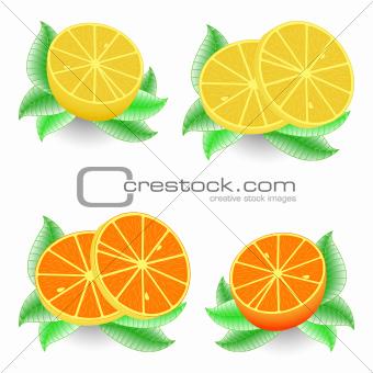 sliced orange and lemon