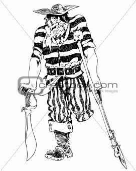 Old one-legged pirate