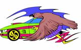Racing car with eagle