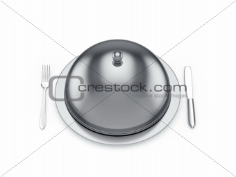 Cloche with knife and fork