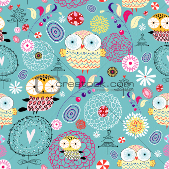 flower texture with owls