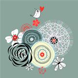 floral background with a love bird
