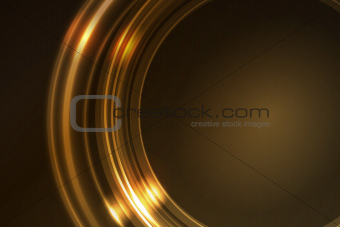 Golden glowing frame of round ring segments
