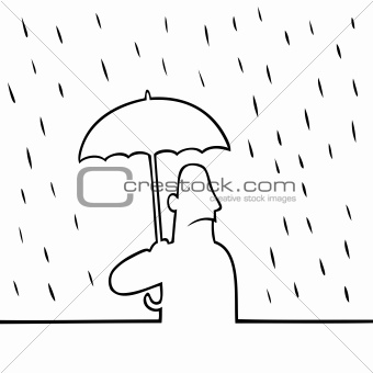 Man with umbrella in the rain